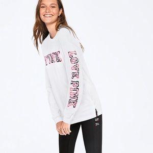 Victoria Secret PINK Logo Long Sleeve Campus Tee
